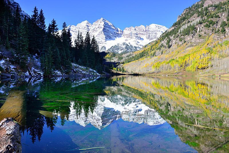 玛尔露恩贝尔峰,季节,叶子,自然,美国,水平画幅,秋天,雪,无人,户外
