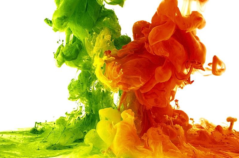 抽象,液体,硫酸亚铁,水平画幅,色彩鲜艳,蓝色,科学实验,背景分离,涂料,水滴