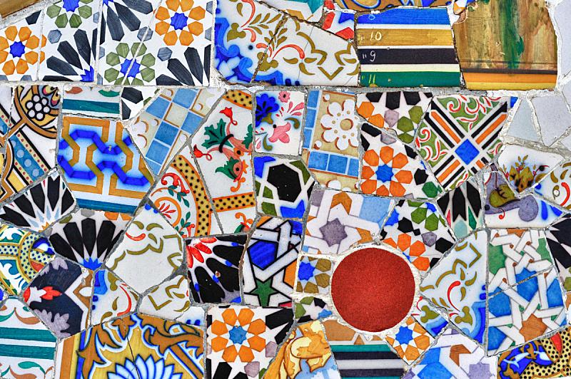 桂尔公园,大特写,镶嵌图案,巴塞罗那,安东尼奥·高迪,艺术,水平画幅,形状,无人,表格