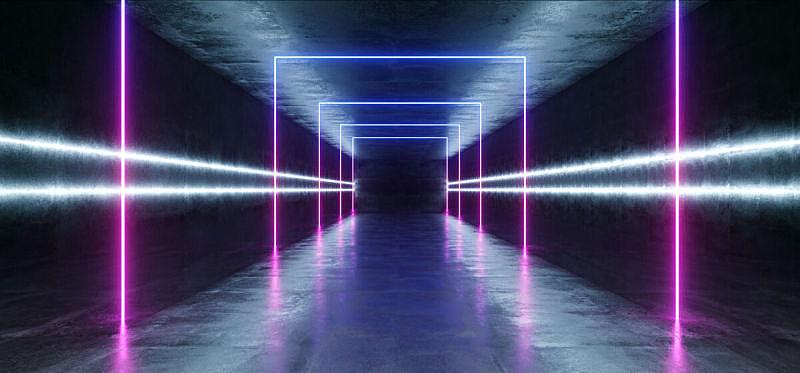 暗色,现代,隧道,走廊,三维图形,未来,混凝土,霓虹灯,激光,蓝色