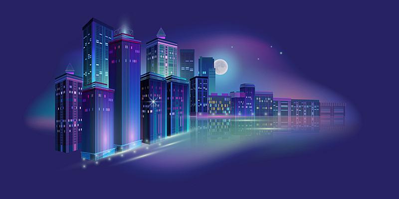 夜晚,全景,矢量,绘画插图,城市,月亮,霓虹灯,暗色,技术,黄昏