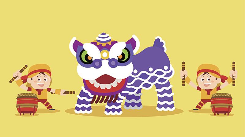 中国,传统,狮子舞蹈,狮王,鼓手,传统舞,中国元宵节,桔子,中国灯笼,狮子