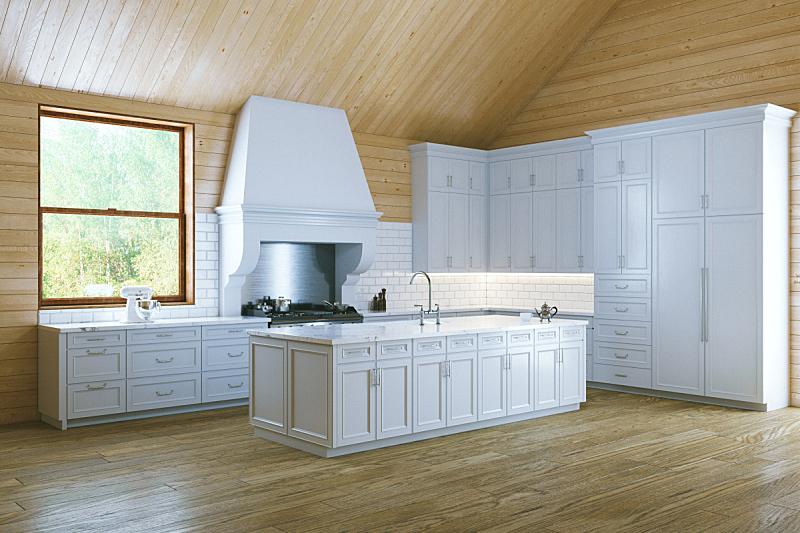 早晨,白色,厨房,高雅,简单,新的,水平画幅,无人,家具,干净