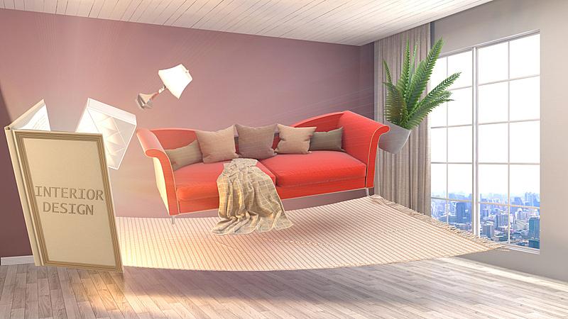 绘画插图,创造力,三维图形,室内设计师,概念,普罗旺斯,褐色,座位,水平画幅,无人