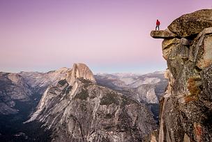 徒步旅行,加利福尼亚,美国,半圆顶,悬崖,优胜美地山谷,优胜美地瀑布,冰河角,梅丽波莎县,极限运动
