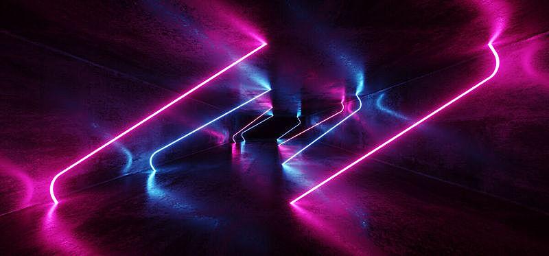 隧道,三维图形,未来,荧光灯,霓虹灯,蓝色,迷幻色,线条,发光,照亮