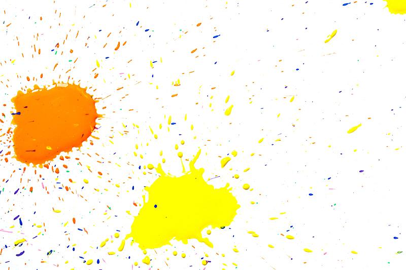 点状,橙色,白色背景,水彩画,分离着色,蜡笔,绘画插图,水,天空