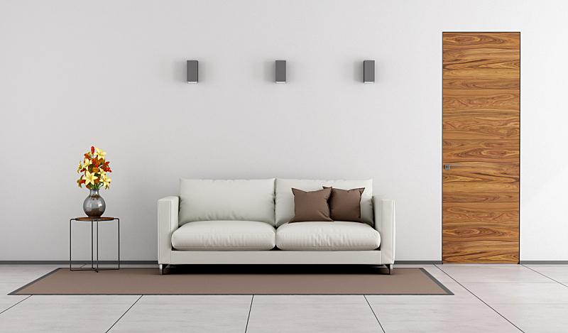 起居室,极简构图,褐色,水平画幅,墙,无人,家具,现代,沙发,白色