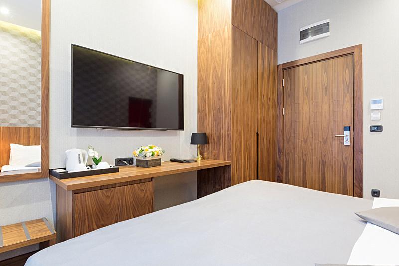 公寓,室内,酒店,褐色,新的,水平画幅,早晨,家具,现代,卧室