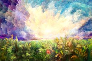 印象主义,夏天,地形,水彩画颜料,云景,云,黄昏,草,色彩鲜艳