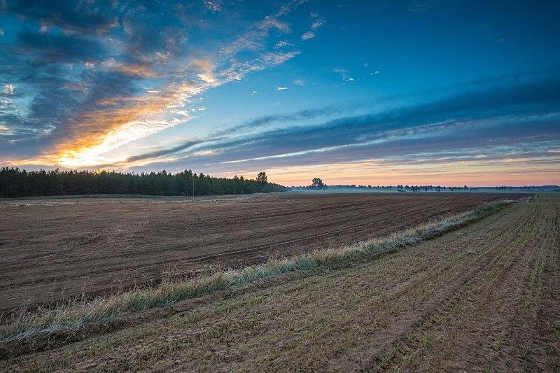Beautiful landscape with plowed field under sky