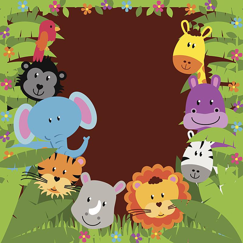 动物,动物园,背景,热带雨林,南美,枝繁叶茂,绘画插图,野外动物,卡通,草