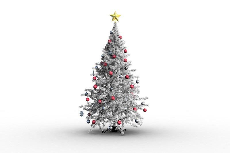 圣诞树,星星,圣诞球,水平画幅,无人,绘画插图,白色背景,计算机制图,计算机图形学