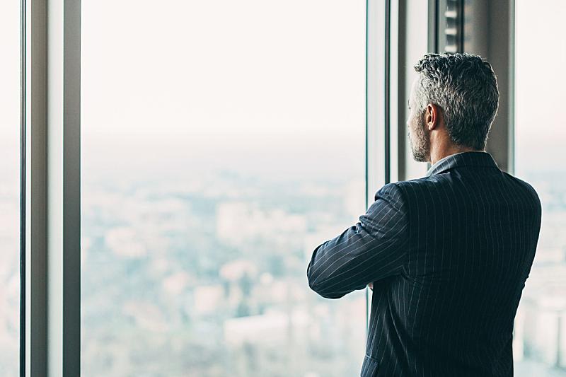 男商人,摩天大楼,背面视角,透过窗户往外看,看风景,首席执行官,窗户,机遇,百万富翁,都市风景