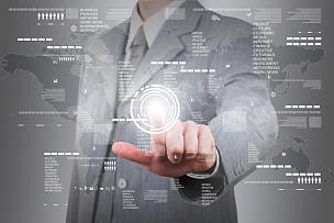 男商人,触摸屏,巨大的,办公室,水平画幅,符号,计算机软件,男性,图形界面,市场营销