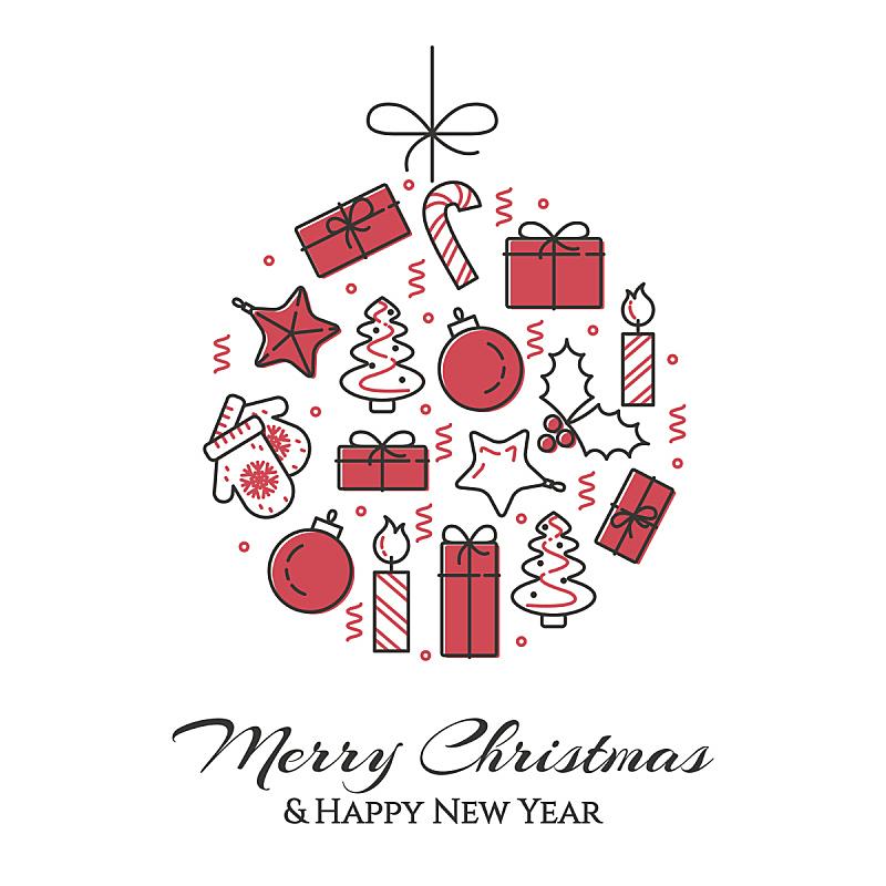 球,绘画插图,矢量,线条画,礼物,平坦的,树,装饰