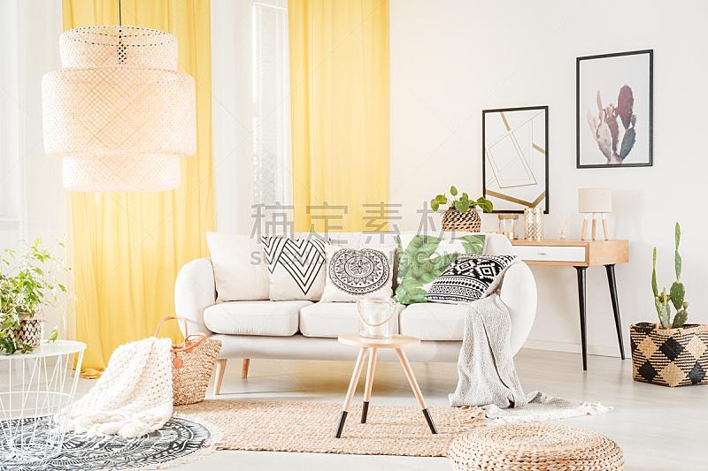 沙发,式样,枕头,留白,柳条,灯,家具,明亮,居住区,现代