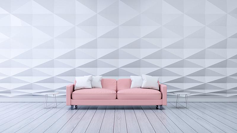室内设计师,沙发,现代,墙,粉色,白色,住宅房间,三维图形,空的