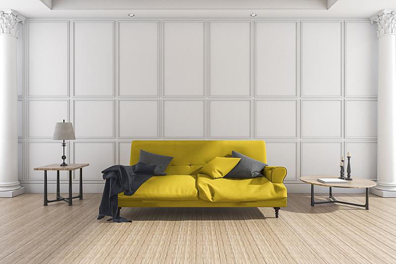 起居室,沙发,简单,黄色,三维图形,柔和,复式楼,围墙,住宅房间,墙