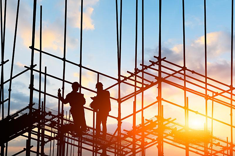 建筑工地,庄园工作人员,高大的,建筑结构,脚手架,建筑业,边框,钢铁,职业,职业安全与健康