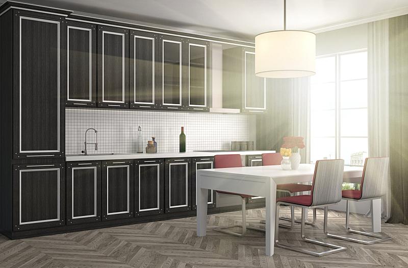 室内,厨房,三维图形,绘画插图,新的,水平画幅,无人,家具,干净,俄罗斯