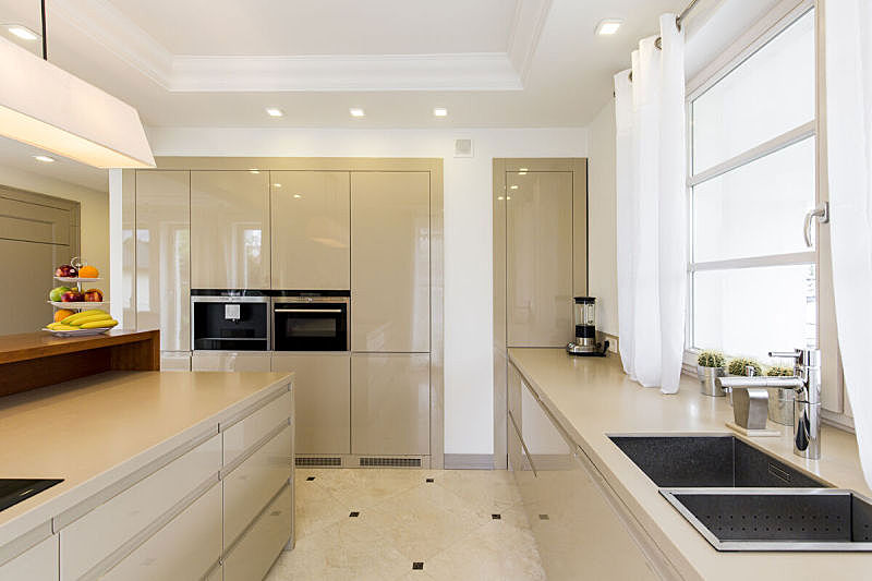 明亮,厨房,水槽,水平画幅,石材,居住区,现代,魅力,设计师,米色