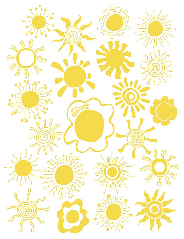 太阳,绘画插图,矢量,反差,动物手,分离着色,日光,可爱的,热,美术工艺