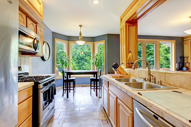 厨房,尼斯,木制,自然美,墙,银色,巨大的,窗户,住宅房间,水平画幅