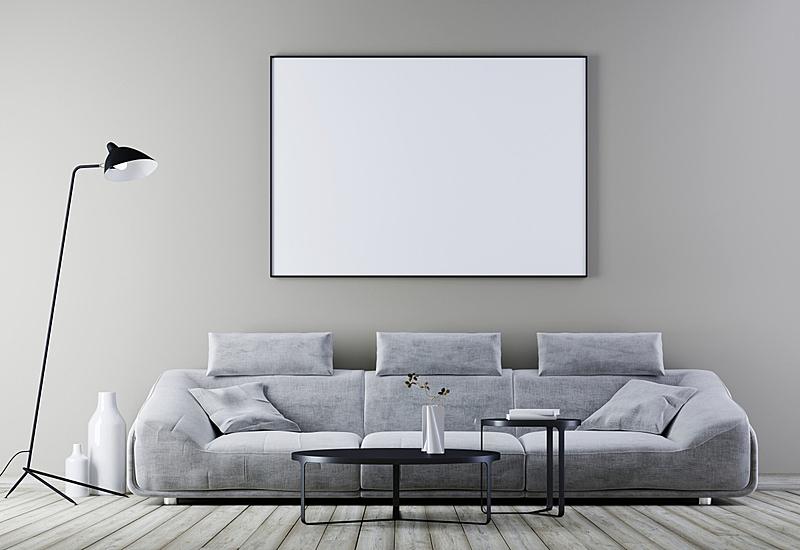 边框,室内,沙发,现代,皮革,起居室,正下方视角,白色,轻蔑的