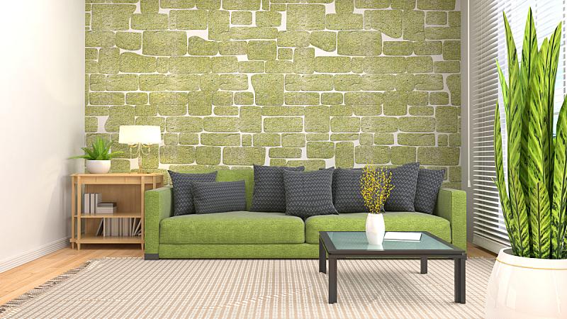 绘画插图,沙发,室内,三维图形,褐色,座位,水平画幅,无人,装饰物,家具
