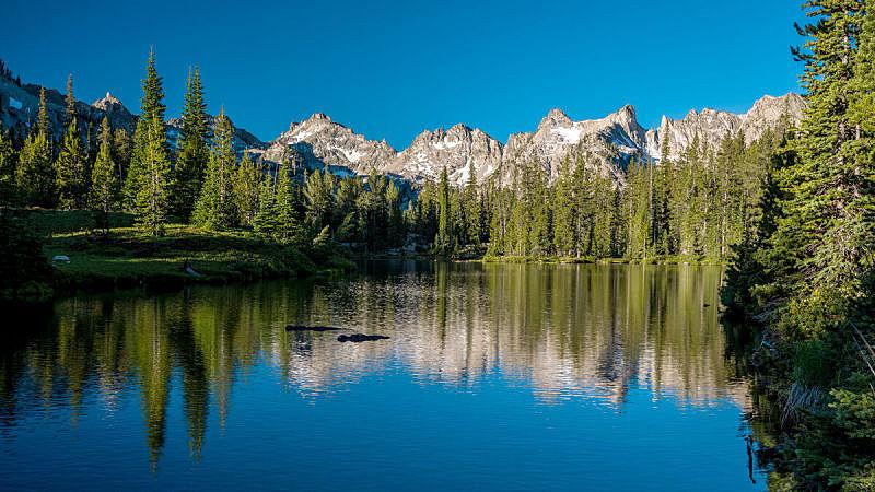 湖,自然美,山,森林,爱达荷,都市风光,自然,水,天空,水平画幅