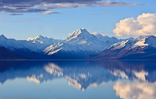 山,库克山,倒影湖,普卡基湖,山顶,新西兰,山脉,湖,风景,反射