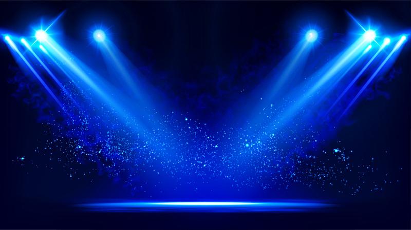 舞台,光效果,矢量,聚光灯,蓝色,黑色背景,风景,干冰,投影设备,照亮