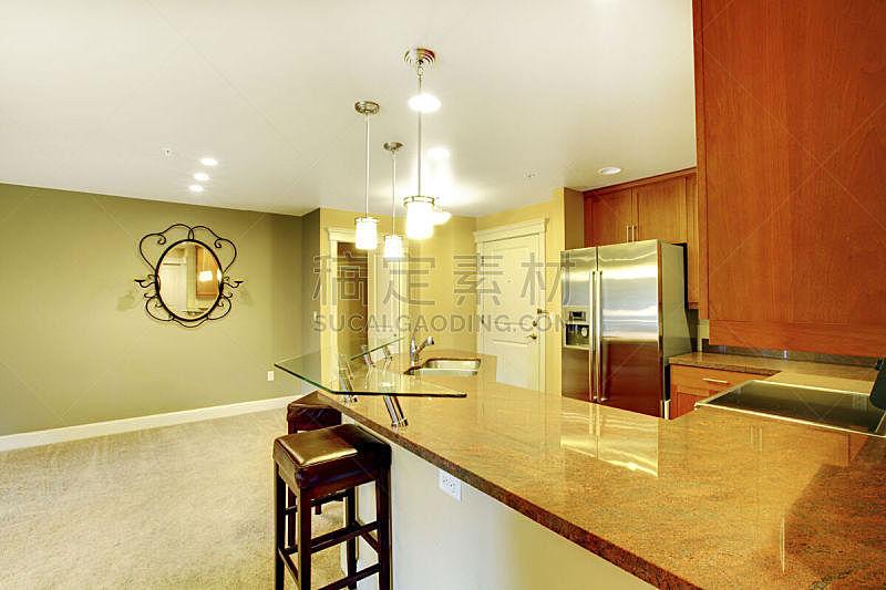 住宅房间,室内,灶台,厨房,花岗岩,水平画幅,吧椅,建筑,无人,豪宅