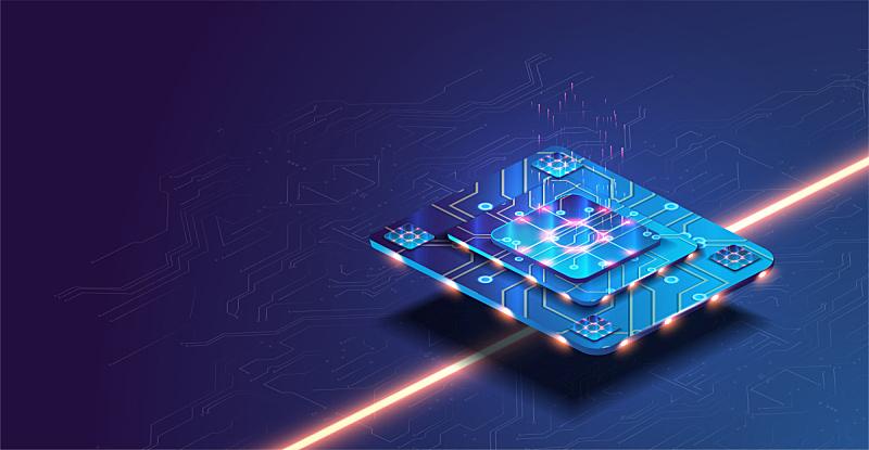 技术,概念,中央处理器,未来,数据,电脑芯片,照明设备,蓝色背景,巨大的,发展