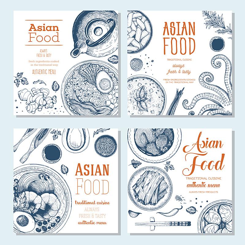 东方食品,方形画幅,标语,日本食品,汤,筷子,碗,日本拉面,绘画插图,食品