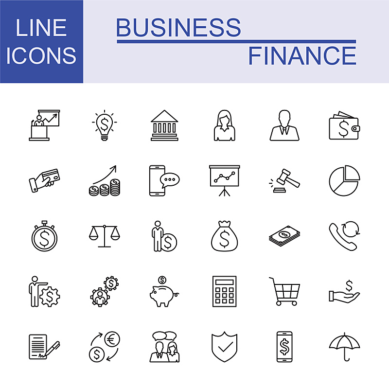 商务,金融,线条,全球通讯,图标集,领导能力,绘画插图,税,经理,税表