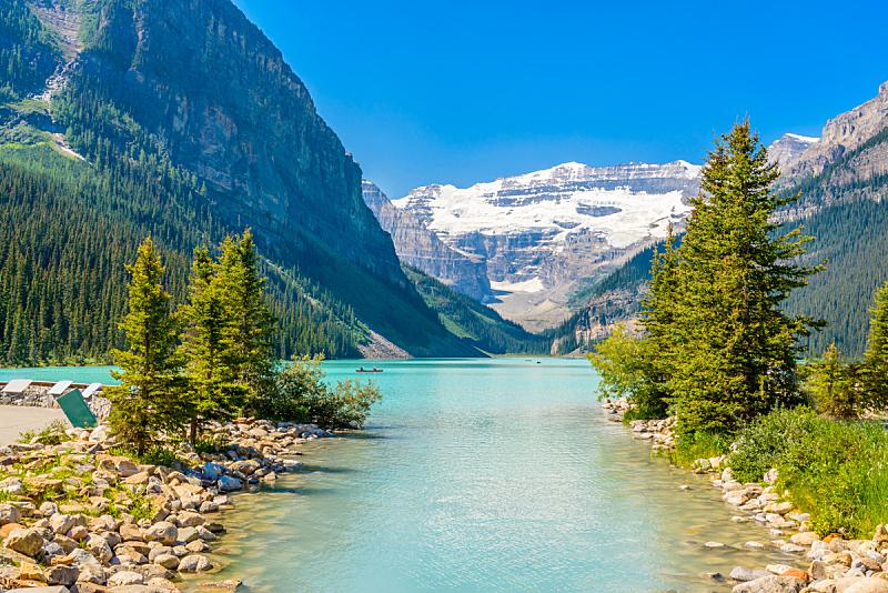 露易斯湖,加拿大落基山脉,十峰谷,洛矶山脉,水平画幅,雪,阿尔伯塔省,无人,户外,湖