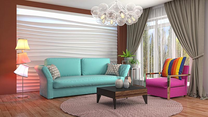 室内,起居室,绘画插图,三维图形,水晶吊灯,扶手椅,花瓶,褐色,座位,水平画幅