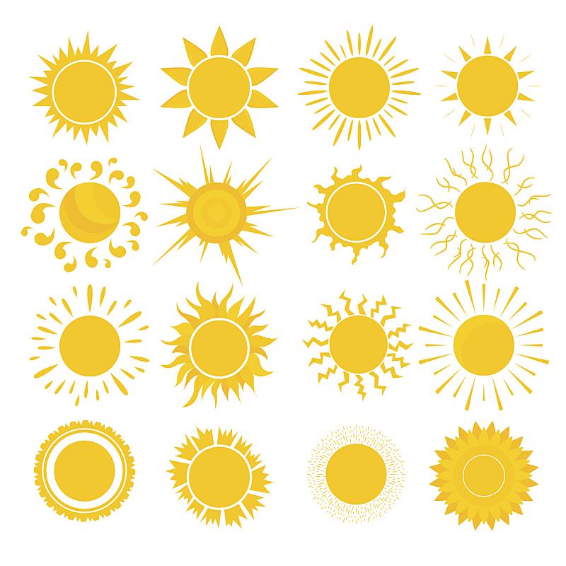 卡通,矢量,黄色,太阳,日光,阳光光束,厚衣服,光束,明亮,图标