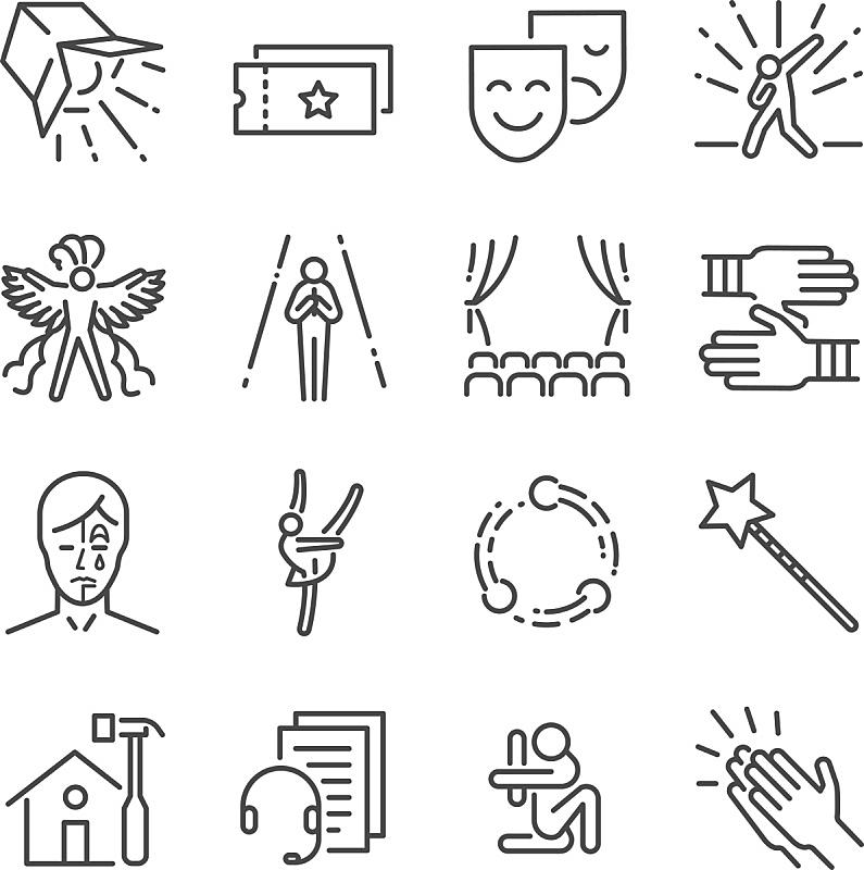 表演艺术活动,面具,计算机图标,舞台,古典音乐会,哑剧,接力赛,大于号,图标集,线条
