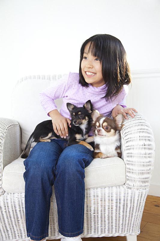 女孩,两个人,垂直画幅,业主,居住区,沙发,成年的,情感,狗