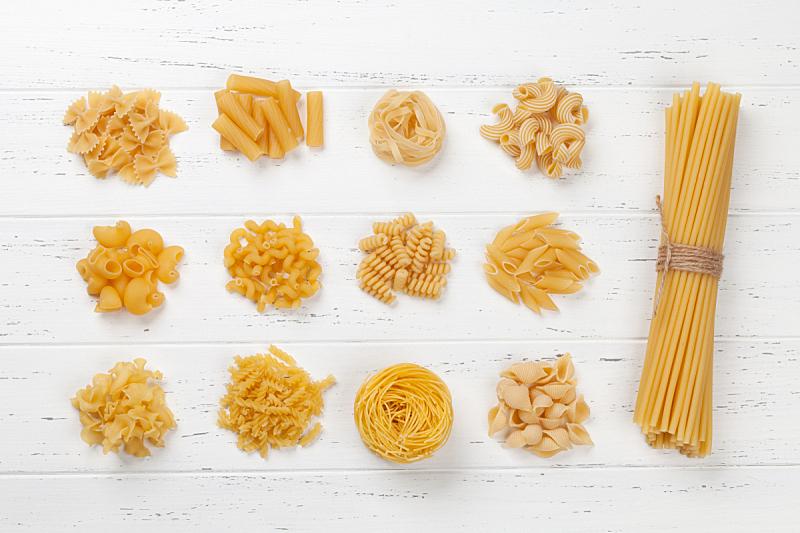 桌子,木制,意大利面,白色,多样,水平画幅,生食,膳食,干的,乡村风格