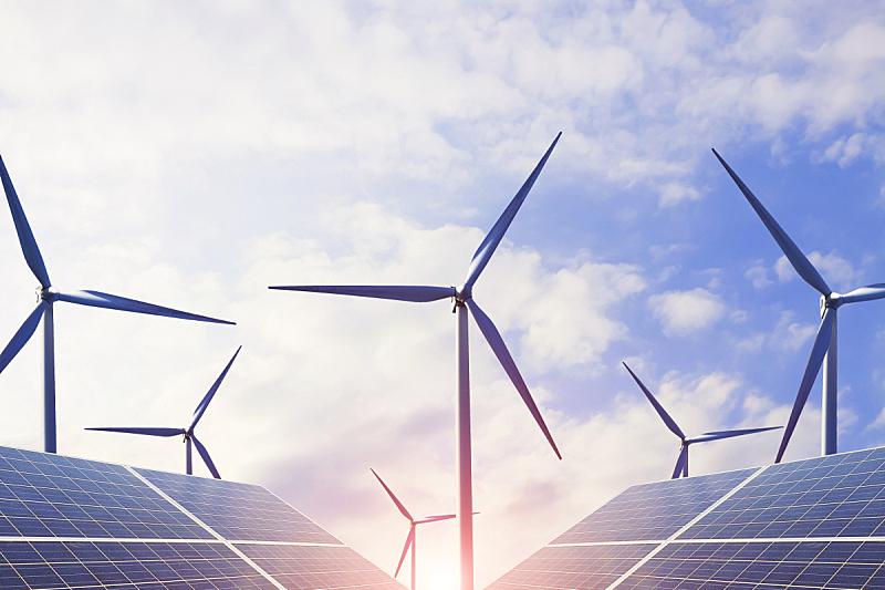 未来,风力,能源,替代能源,太阳能电池板,电灯泡,效率,轻的,天空,新的
