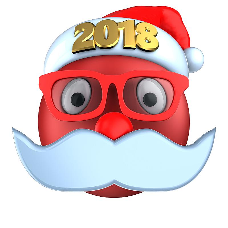 表情符号,红色,2018,三维图形,帽子,圣诞帽,在线聊天,络腮胡子,无人