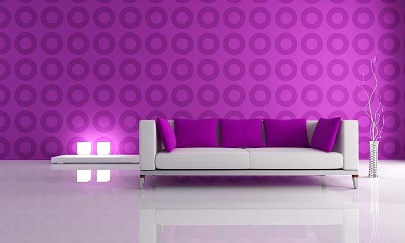 起居室,极简构图,白色,水平画幅,无人,几何形状,灯,居住区,现代,沙发