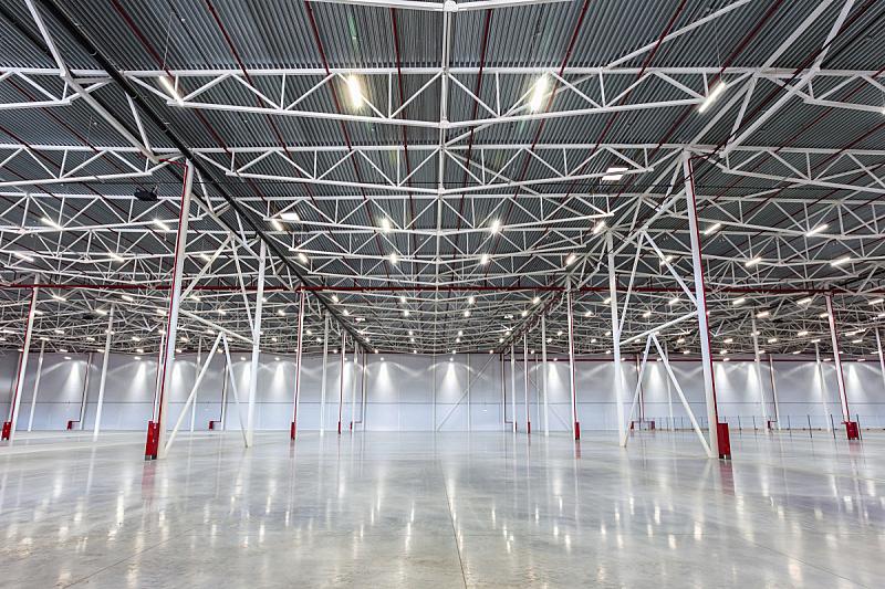 仓库,现代,空的,巨大的,飞机库,水平画幅,透视图,架子,工厂,商店