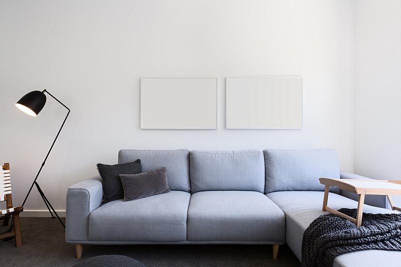起居室,沙发,空白的,蓝色,亚麻布,照片,柔和色,地毯,餐盘,柔焦