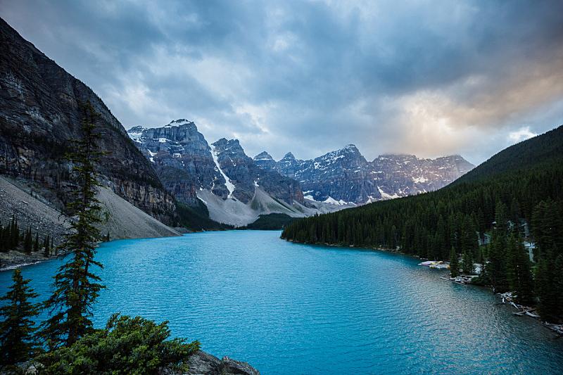梦莲湖,班夫国家公园,阿尔伯塔省,自然,加拿大,水平画幅,无人,户外,湖,摄影