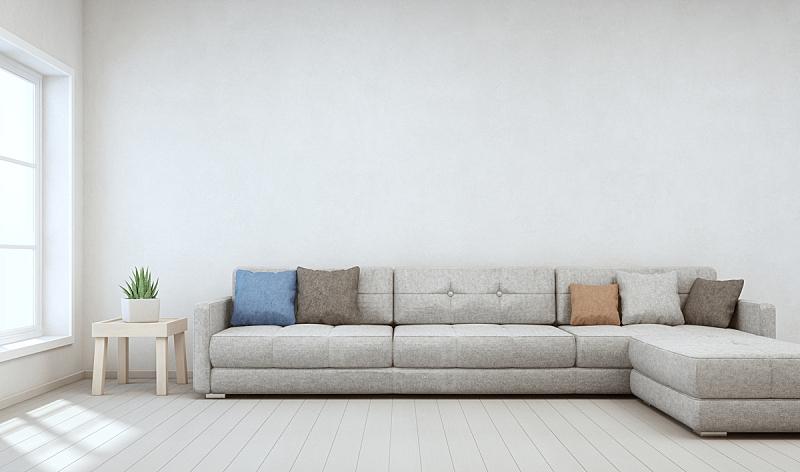 明亮,居住区,斯堪的纳维亚人,沙发,白色,木制,房屋,极简构图,背景,巨大的
